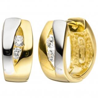 Creolen 925 Sterling Silber bicolor vergoldet 4 Zirkonia Ohrringe