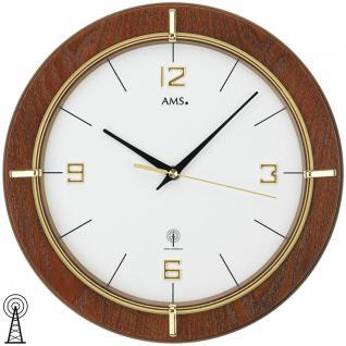AMS 5832 Wanduhr Funk Funkwanduhr analog rund Holz nussbaum farben mit Glas