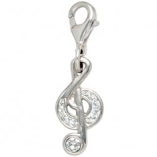 Einhänger Charm Notenschlüssel 925 Sterling Silber mit SWAROVSKI® ELEMENTS Musik