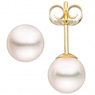 Ohrstecker 585 Gold Gelbgold 2 Akoya Perlen 6, 5 mm
