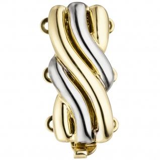 Schließe 3-reihig 585 Gold Gelbgold bicolor Kettenverschluss