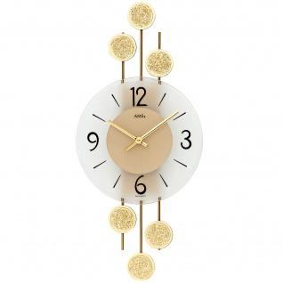 AMS 9439 Wanduhr Quarz analog golden modern mit Metall und Glas