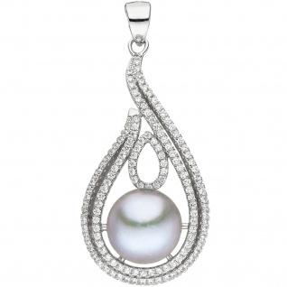Anhänger 925 Silber 1 graue Süßwasser Perle mit Zirkonia Perlenanhänger