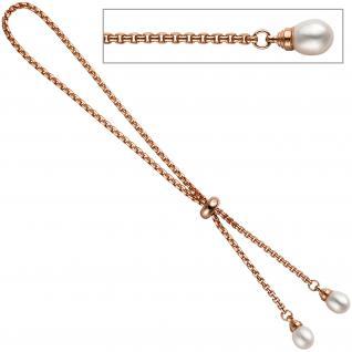 Venezianerarmband 925 Silber rotgold vergoldet 2 Süßwasser Perlen Armband