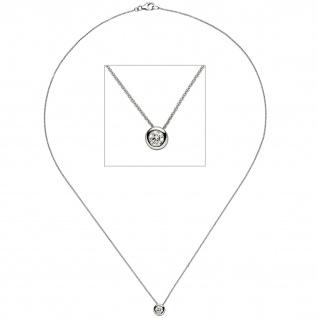 Collier Kette mit Anhänger 585 Gold Weißgold 1 Diamant Brillant 45 cm