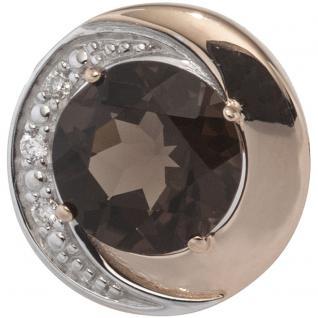 Anhänger rund 585 Rotgold bicolor 3 Diamanten Brillanten 1 Rauchquarz braun