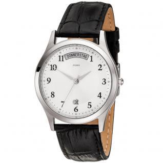 JOBO Herren Armbanduhr Quarz Analog Edelstahl Lederband schwarz Herrenuhr Datum