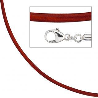 Collier Halskette Leder rot 925 Silber 42 cm Lederkette Karabiner