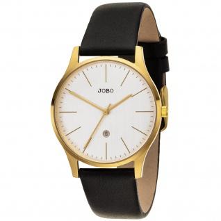 JOBO Damen Armbanduhr Quarz Analog Edelstahl vergoldet Lederband Datum