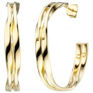 Halbcreolen 925 Sterling Silber gold vergoldet Ohrringe Creolen