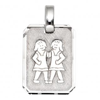 Anhänger Sternzeichen Zwilling 925 Sterling Silber matt Sternzeichenanhänger