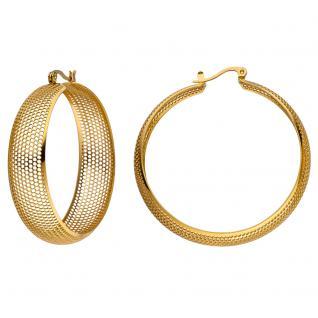 Creolen groß aus Edelstahl gold farben beschichtet Ohrringe mit Lochmuster