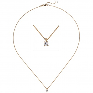 Collier Kette mit Anhänger 585 Gold Rotgold 1 Diamant Brillant 0, 25 ct. 45 cm