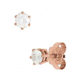 Ohrstecker rund 585 Gold Rotgold 2 Diamanten Brillanten 0, 15ct. Ohrringe