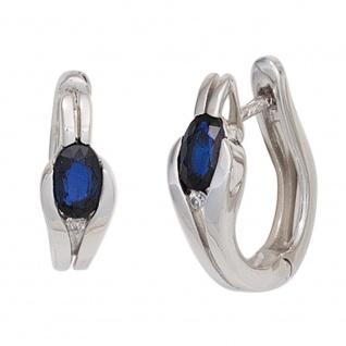 Creolen 333 Gold Weißgold 2 Safire blau 2 Diamanten Brillanten Ohrringe