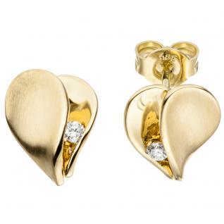 Ohrstecker Herz 585 Gold Gelbgold matt 2 Diamanten Brillanten Ohrringe