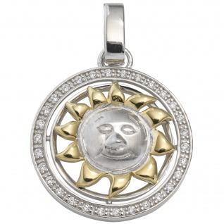 Anhänger Sonne 925 Sterling Silber bicolor vergoldet mit Zirkonia