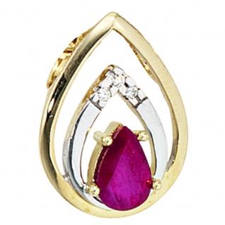 Anhänger Tropfen 585 Gold Gelbgold 3 Diamanten Brillanten 1 Rubin rot