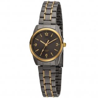 JOBO Damen Armbanduhr Quarz Analog Titan bicolor vergoldet
