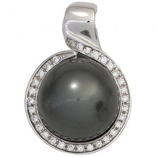 Anhänger rund 925 Sterling Silber rhodiniert mit Zirkonia Perlenanhänger