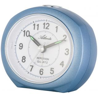 Atlanta 1593/5 Wecker Quarz analog blau leise ohne Ticken mit Licht Snooze