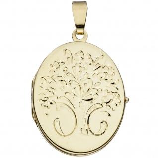 Medaillon oval Blumen 585 Gold Gelbgold Anhänger zum Öffnen