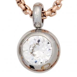 Collier Kette mit Anhänger Edelstahl mit Kristallstein 70 cm Halskette