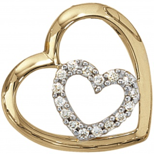 Anhänger Herz 585 Gold Gelbgold 16 Diamanten Brillanten 0, 12ct. Herzanhänger