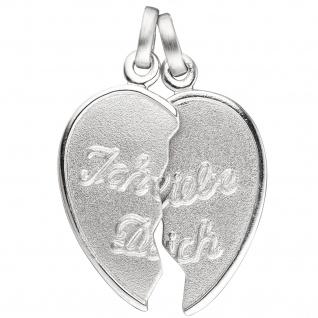 Anhänger Ich Liebe Dich / geteiltes Herz 925 Sterling Silber Partneranhänger