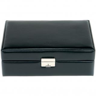 Sacher Schmuckkoffer Schmuckkasten schwarz Holz mit Leder abschließbar Reisetui - Vorschau 2