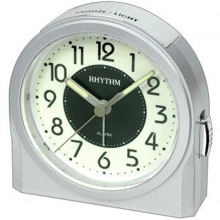 Rhythm 70647/19 Wecker Quarz analog silbern grau Licht Snooze Leuchtzifferblatt