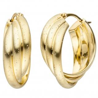 Creolen verschlungen 925 Sterling Silber gold vergoldet matt Ohrringe