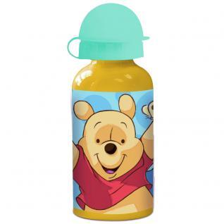 WINNIE PUUH Kinder Trinkflasche aus Aluminium gelb türkis 400ml