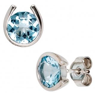 Ohrstecker 585 Gold Weißgold 2 Blautopase hellblau blau Ohrringe