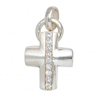 Anhänger Kreuz 925 Sterling Silber mattiert 9 Zirkonia Kreuzanhänger Silberkreuz