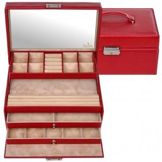 Sacher Schmuckkoffer Schmuckkasten DOLLARINO rot abschließbar Schubladen