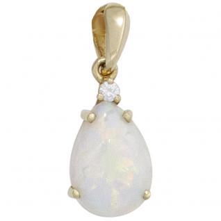 Anhänger Tropfen 585 Gold Gelbgold 1 Opal 1 Diamant Brillant Opalanhänger