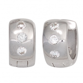 Creolen breit 925 Sterling Silber rhodiniert 6 Zirkonia Ohrringe Silbercreolen