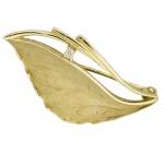 Brosche 333 Gold Gelbgold mattiert 1 Zirkonia Goldbrosche