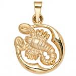 Anhänger Sternzeichen Skorpion 375 Gold Gelbgold matt Sternzeichenanhänger