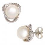 Ohrstecker 585 Weißgold 2 Süßwasser Perlen 16 Diamanten Brillanten Ohrringe