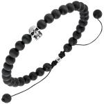 Armband Totenkopf Onyx Perlen schwarz 19, 5 cm Onyxarmband Zugarmband