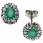 Ohrstecker oval 925 Sterling Silber rhodiniert mit Zirkonia 2 Smaragde grün Ohrr