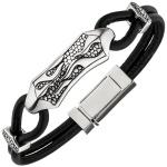 Armband Leder mit Edelstahl schwarz 21 cm