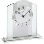 AMS 1120 Tischuhr Quarz silbern Metall mit Messing und Glas