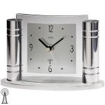 AMS 5130 Tischuhr Funk Funktischuhr silbern Metall mit Glas und Aluminium