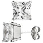 Ohrstecker quadratisch 925 Sterling Silber 2 Zirkonia Ohrringe Silberohrringe