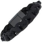 Armband 2-reihig Leder mit Keramik schwarz geflochten 19 cm