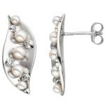 Ohrstecker 925 Silber 10 Akoya Perlen 8 Zirkonia Ohrringe Perlenohrringe