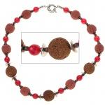 Halskette Edelsteinkette Lava mit Quarz und Hämatin rot braun 48 cm Kette